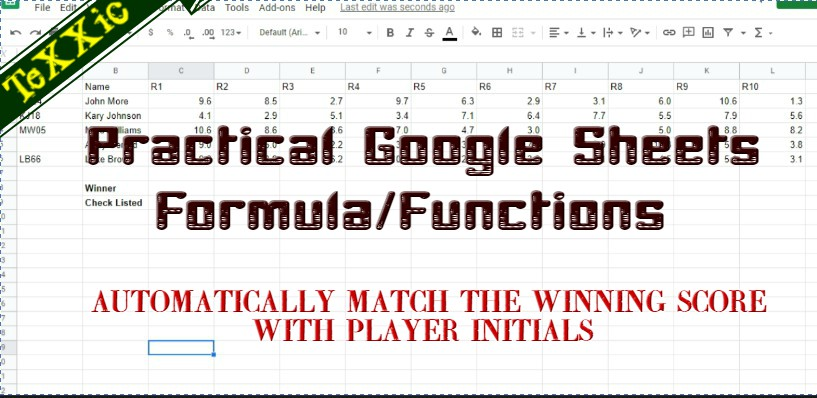 Practical Google Sheets Formulas & Functions:: Matching player winnings with initials